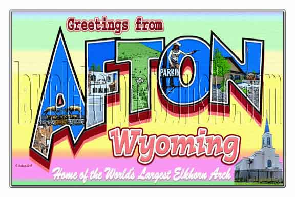 Greetings from Afton, Wyoming large letter postcard