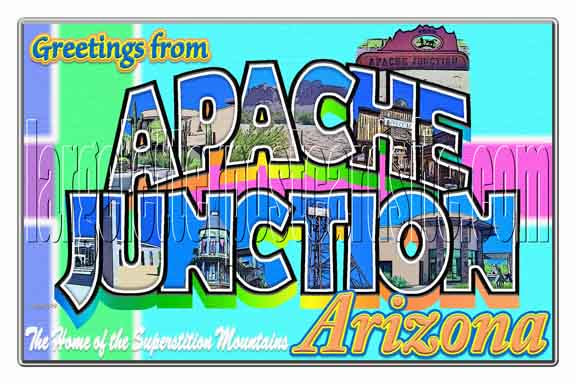 Greetings from Apache Junction large letter postcard