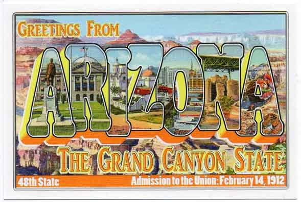 Arizona large letter postcard 48th state