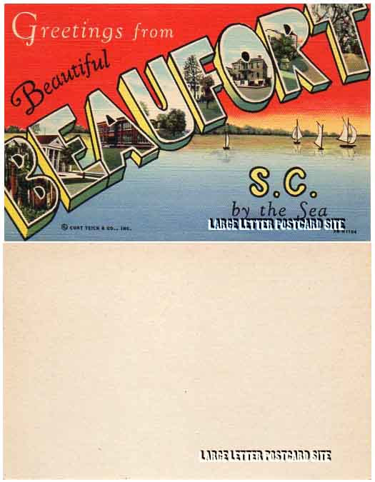 Curt Teich 3B-H1104 Beaufort blank back large letter postcard