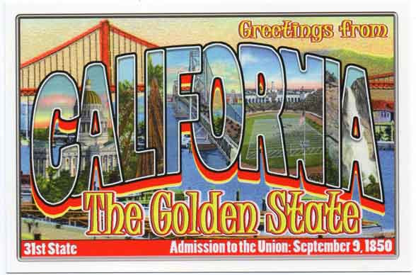 California large letter postcard 31st state