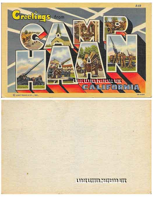 Curt Teich 3B-H460 Camp Haan California blank back large letter postcard