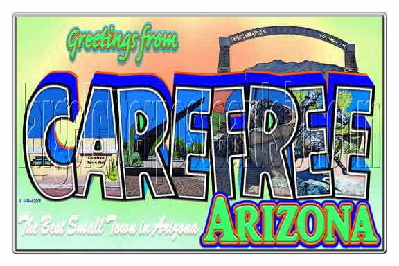 Greetings from Carefree, Arizona large letter postcard