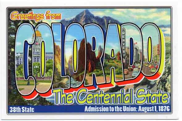 Colorado large letter postcard 38th state