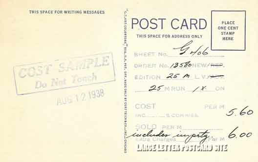 8a H1343 Curt Teich Machusetts Large Letter Postcard Cost Sample Back