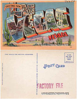 Tichnor 74680 Las Vegas Nevada factory file large letter postcard