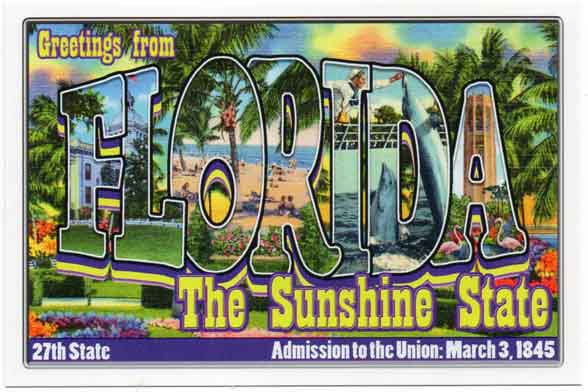 Florida large letter postcard 27th state