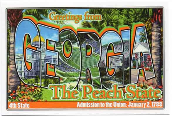 Georgia large letter postcard 4th state