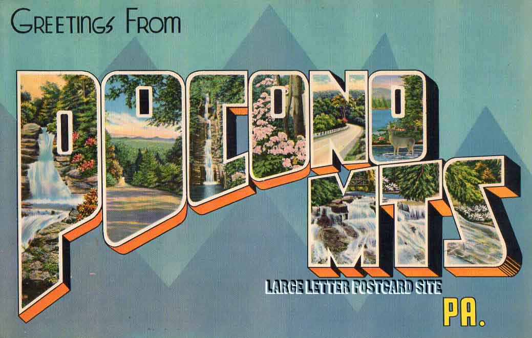 Giant Colourpicture Pocono Mts Pennsylvania large letter postcard