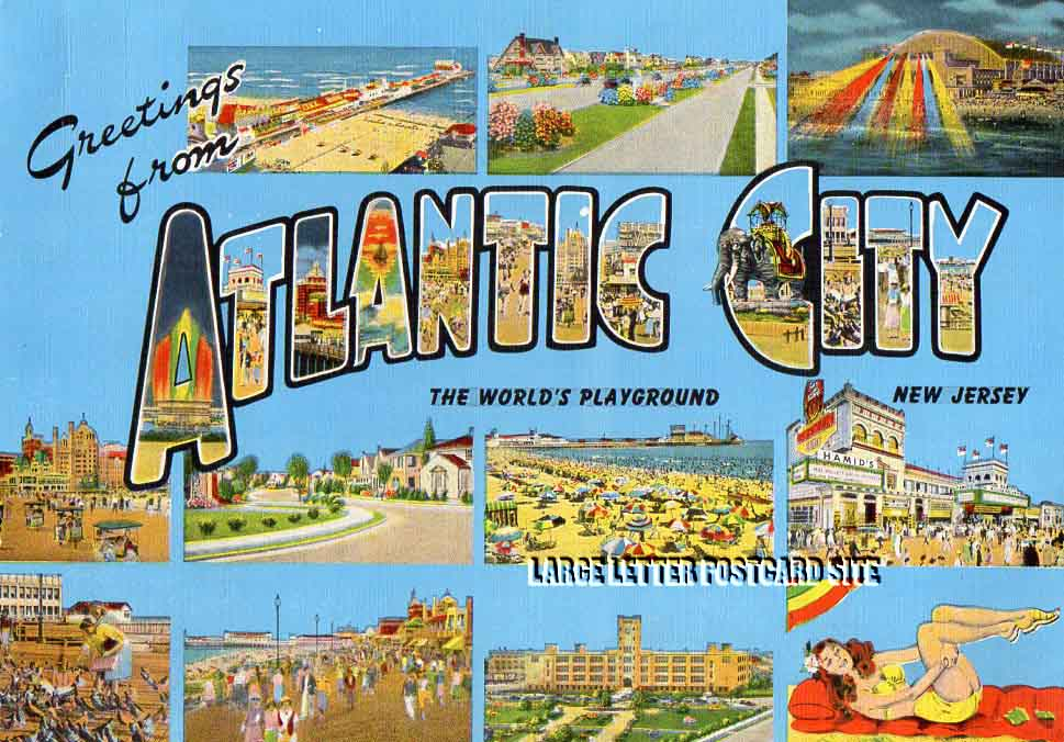 Giant E.C. Kropp Atlantic City New Jersey large letter postcard