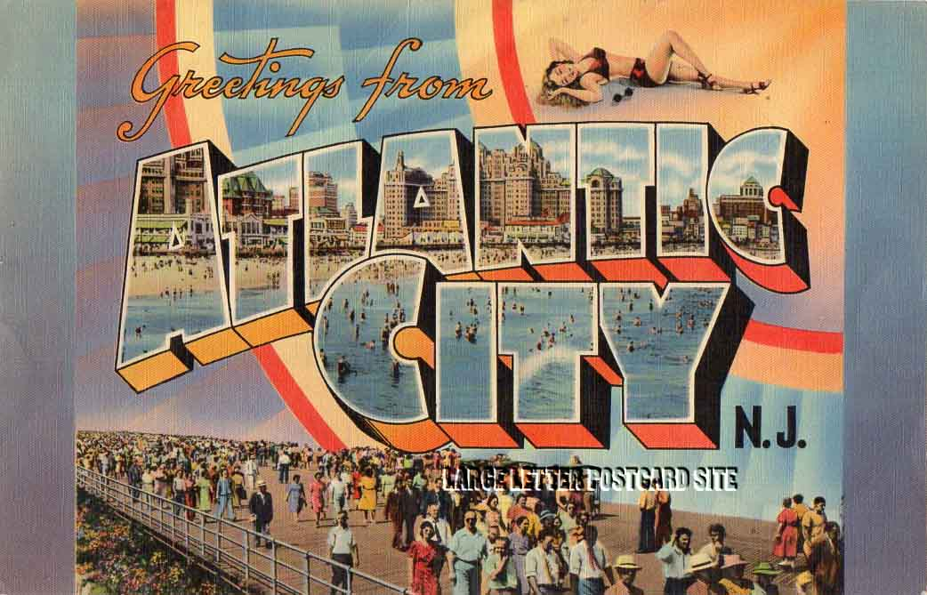 Giant Tichnor Atlantic City New Jersey large letter postcard