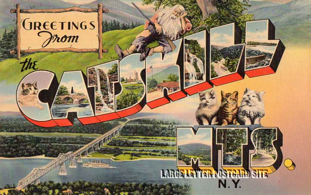 Giant Tichnor Catskill Mts New York large letter postcard
