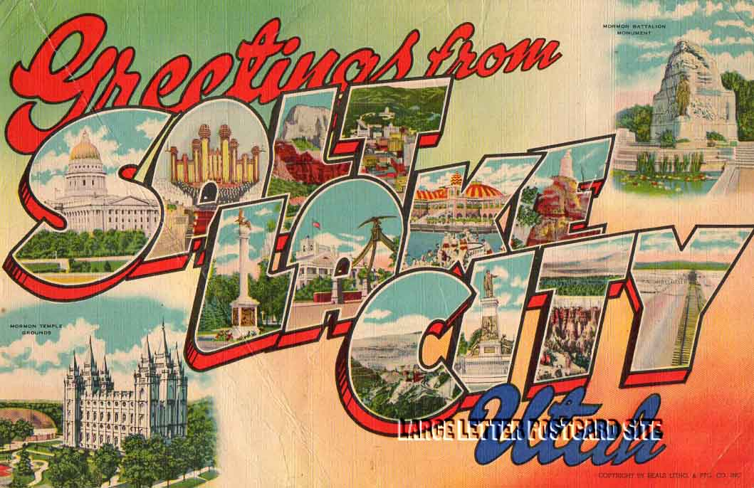 Giant Beals Salt Lake City Utah large letter postcard