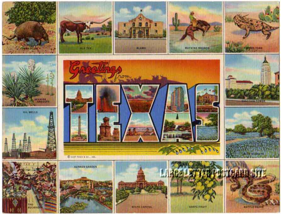 Giant Curt Teich Texas large letter postcard