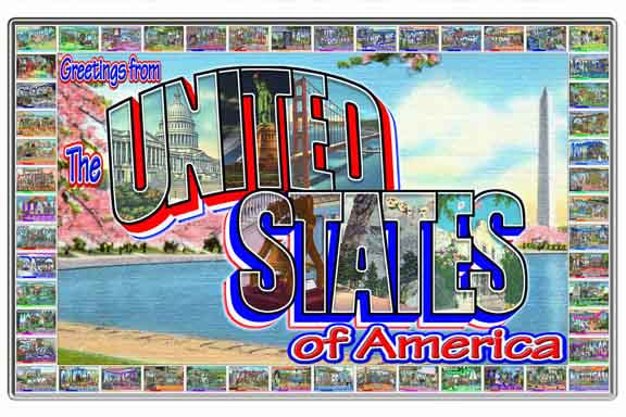 Greetings from the United States of America large letter postcard
