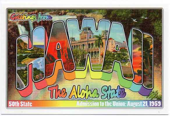 Hawaii large letter postcard 50th state