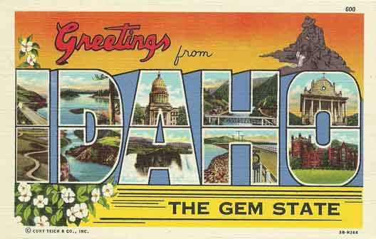 Idaho large letter postcard checklist