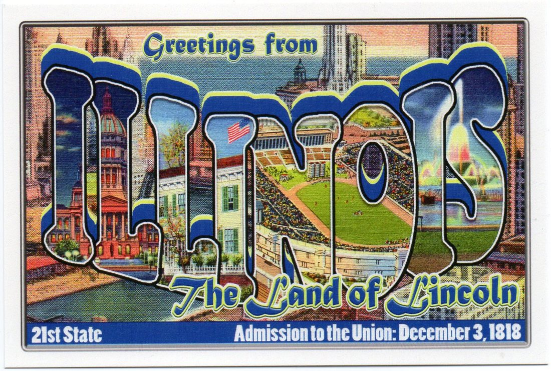 Illinois large letter postcard 21st state