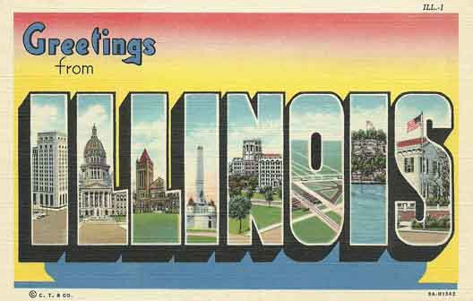 Illinois large letter postcard checklist