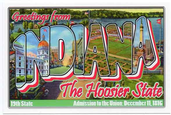 Indiana large letter postcard 19th state