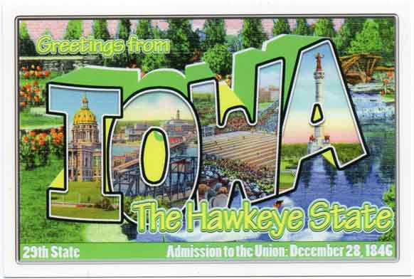 Iowa large letter postcard 29th state