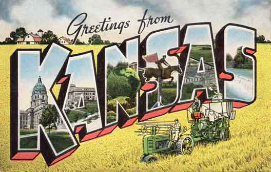 Kansas large letter postcard checklist