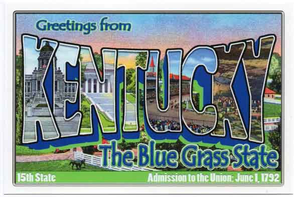 Kentucky large letter postcard 15th state