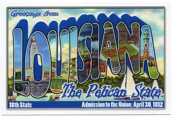 Louisiana large letter postcard 18th state