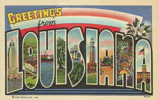 Louisiana large letter postcard checklist