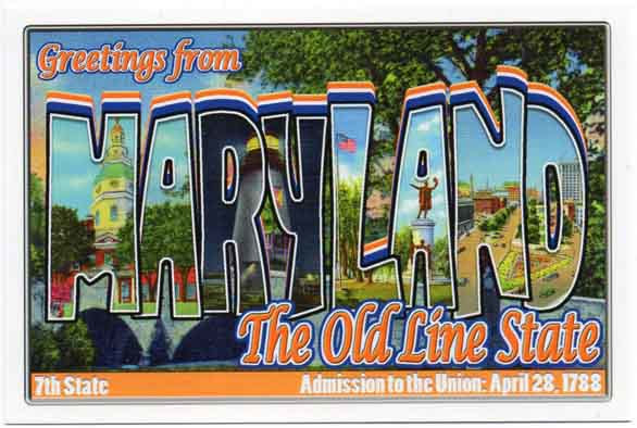 Maryland large letter postcard 7th state