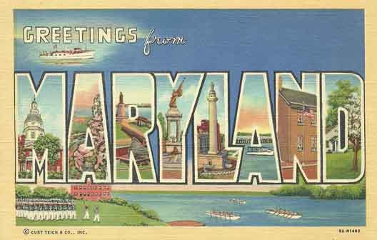 Maryland large letter postcard checklist