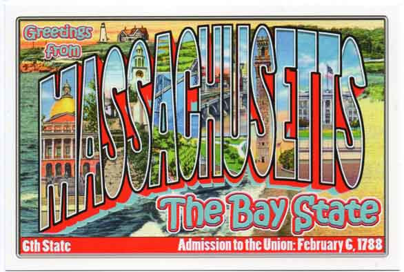 Massachusetts large letter postcard 6th state