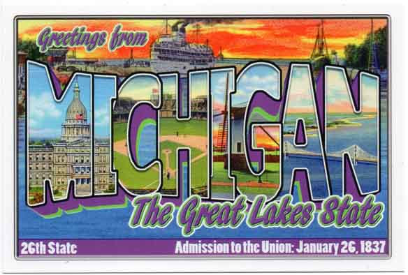 Michigan large letter postcard 26th state