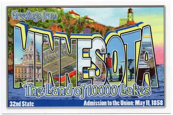 Minnesota large letter postcard 32nd state