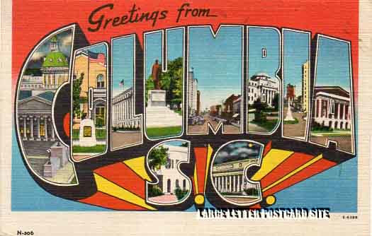 misprint Columbia South Carolina large letter postcard