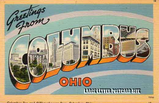 misprint Tichnor 73700 Columbus Ohio large letter postcard
