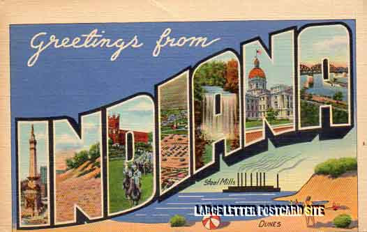 misprint Indiana large letter postcard
