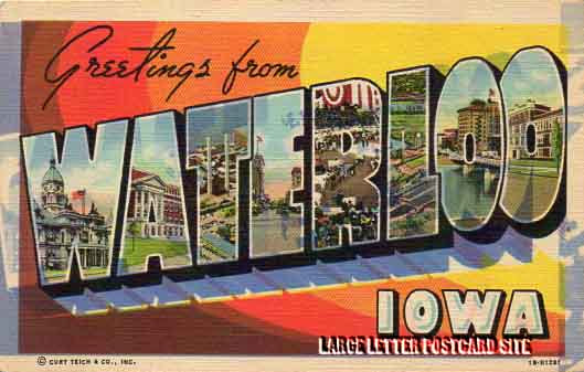 Curt Teich 1B-H1281 Waterloo Iowa large letter postcard