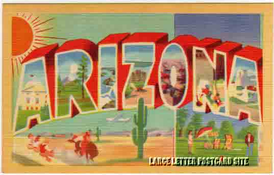 misprint Arizona large letter postcard