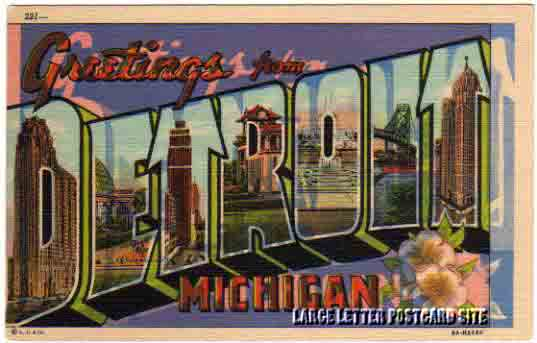 misprint Detroit large letter postcard
