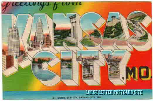 misprint Kansas City Missouri large letter postcard