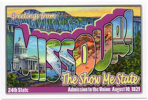 Missouri large letter postcard 24th state