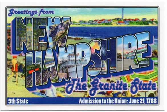 New Hampshire large letter postcard 9th state