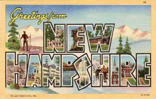 New Hampshire large letter postcard checklist