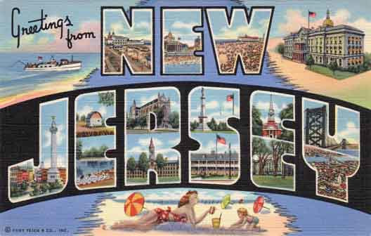 New Jersey large letter postcard checklist