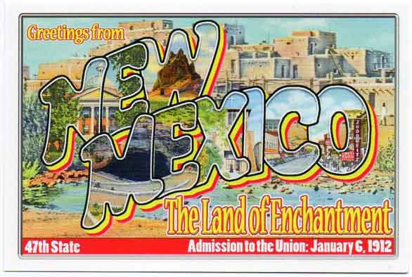 New Mexico large letter postcard 47th state