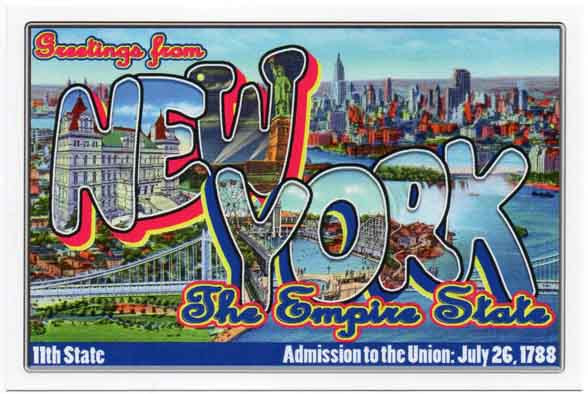 New York large letter postcard 11th state