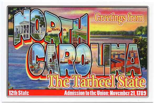 North Carolina large letter postcard 12th state
