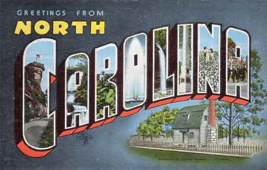 North Carolina large letter postcard checklist