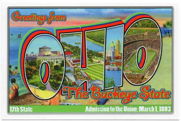 Ohio large letter postcard 17th state